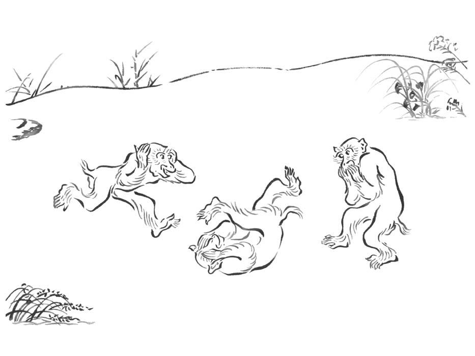 和風筆の線画で描いた猿のイラスト