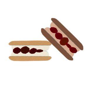 お菓子の切り絵イラスト