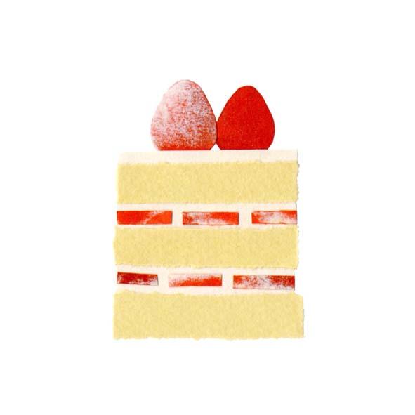 ショートケーキの切り絵イラスト