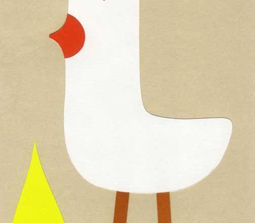 鳥のシンプルな切り絵イラスト