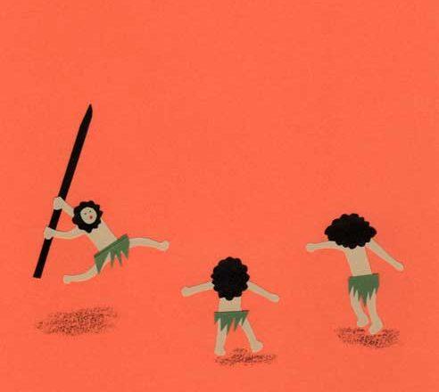 原始人の子供のシンプルな切り絵イラスト