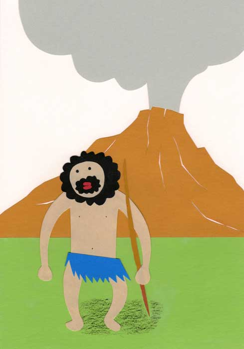 噴火した山と原始人のシンプルな切り絵イラスト
