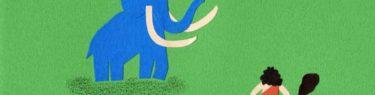 マンモスと原始人のシンプルな切り絵イラスト