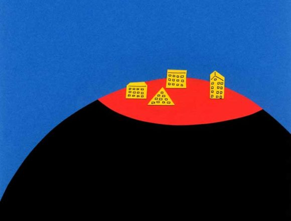 丸い山にあるホテルのシンプルな切り絵イラスト