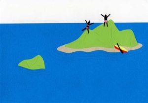 海と島のシンプルな切り絵イラスト