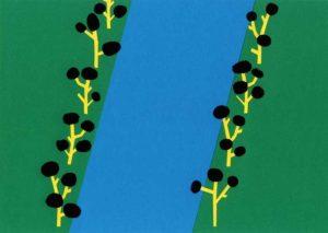 川と木のシンプルな切り絵イラスト