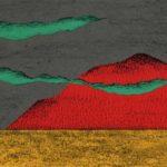 original works 切り絵コラージュ「赤い山」