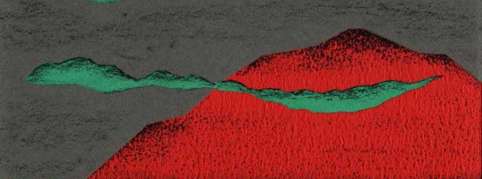 赤い山と黄色い海のシンプルな切り絵イラスト