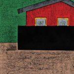 original works 切り絵コラージュ「赤い壁の家」