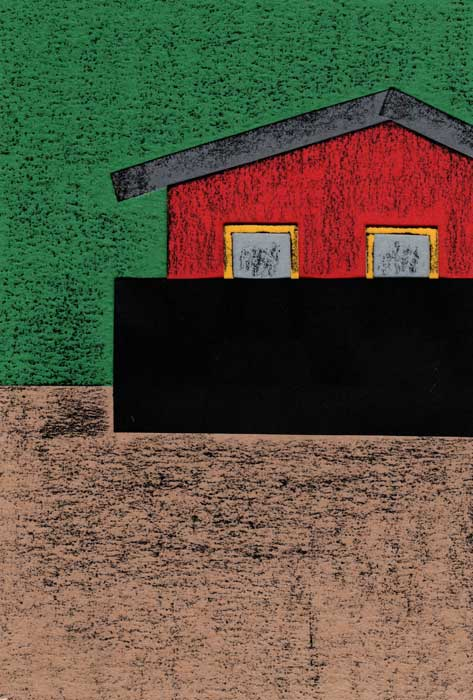 赤い家のシンプルな切り絵イラスト
