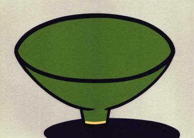 緑色のお茶碗のシンプルな切り絵イラスト