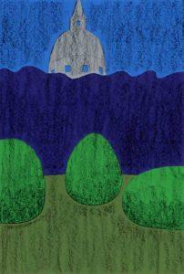 夜の公園のシンプルな切り絵イラスト
