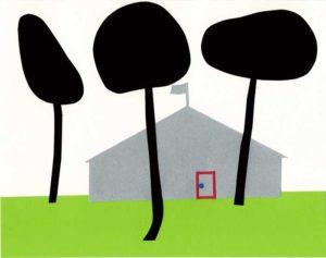 家と木があるシンプルな切り絵イラスト
