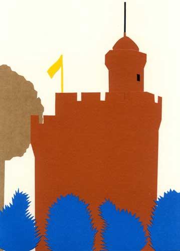お城のシンプルな切り絵イラスト
