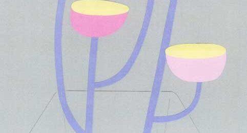 花瓶に生けた花のシンプルな切り絵イラスト