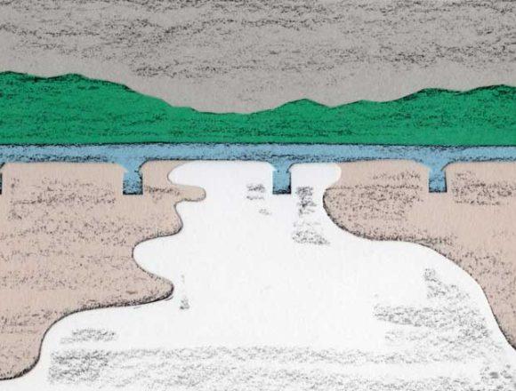 川と橋があるシンプルな切り絵イラスト