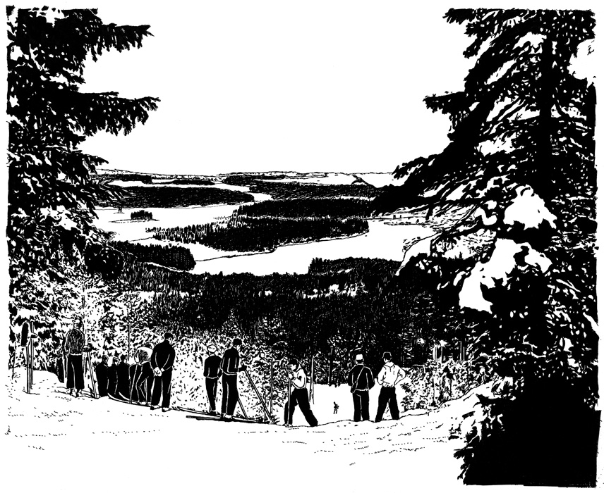 雪山の風景ドローイングイラスト