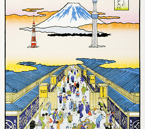 富士山がある風景の浮世絵風ポスターイラスト