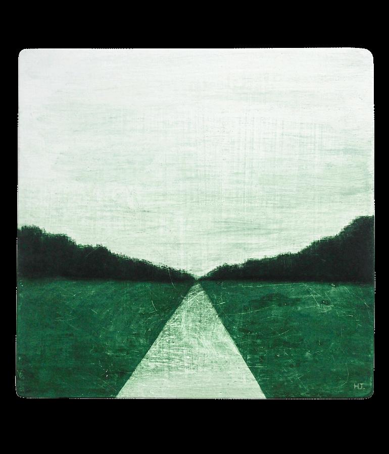 道と緑の風景画