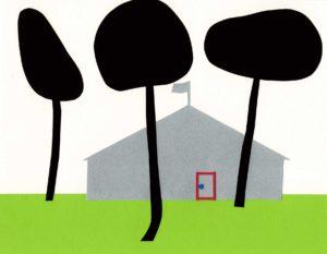 家がある風景の切り絵