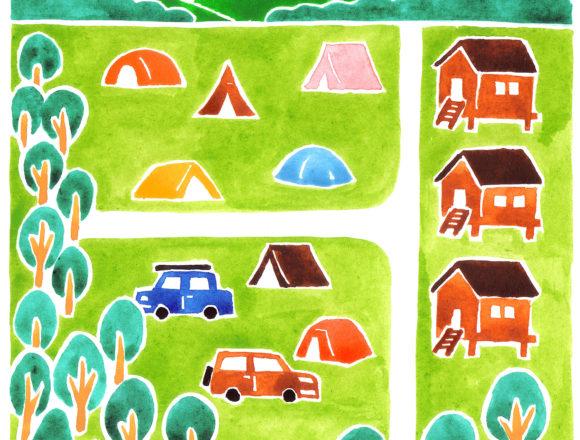 ランドネのキャンプ場の水彩イラスト