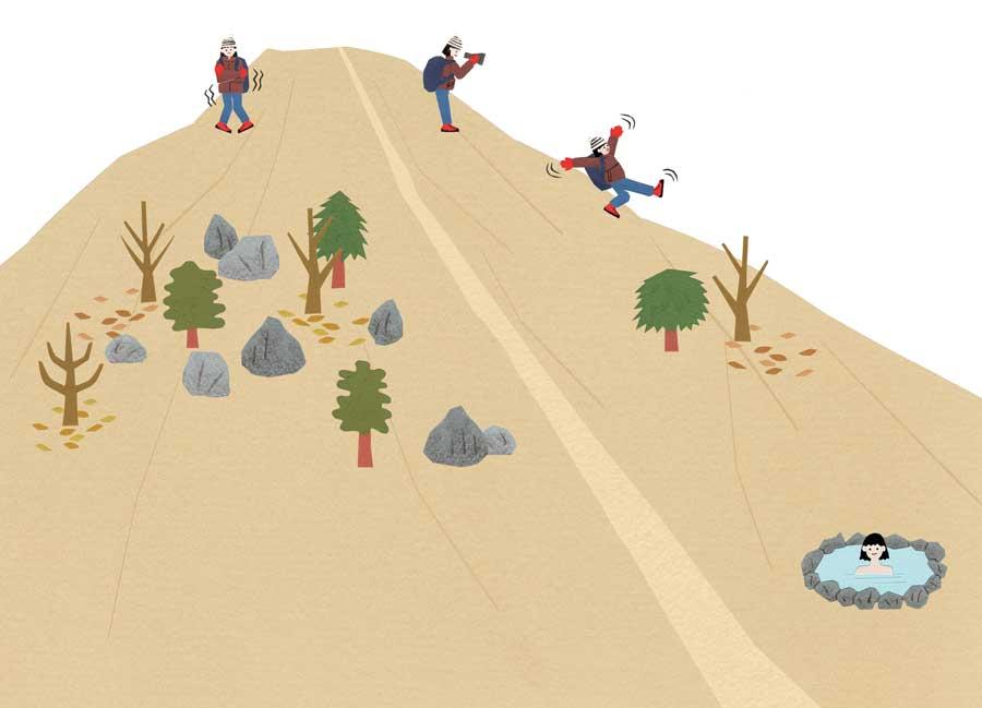 ランドネの山中の切り絵イラスト