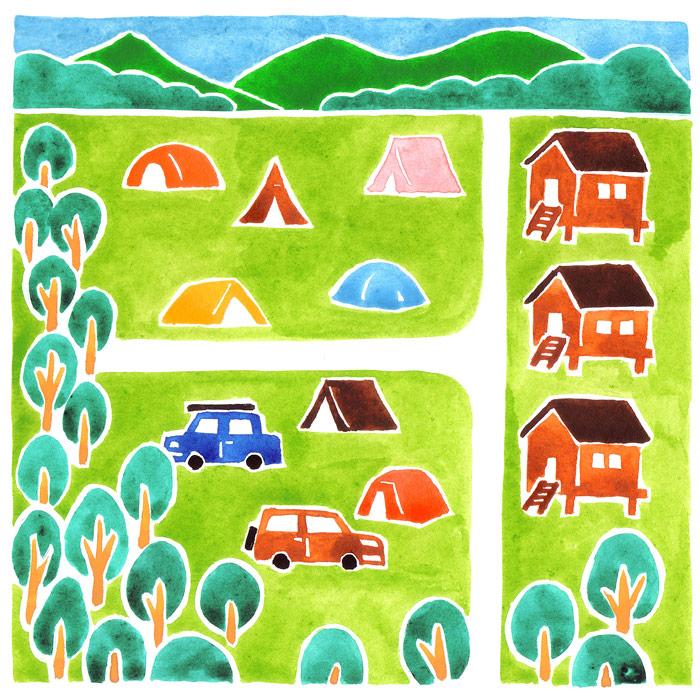 ランドネの風景の水彩イラスト