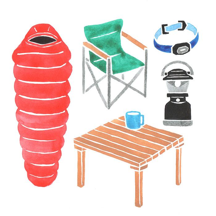 ランドネのキャンプ用品の水彩イラスト