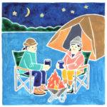 ランドネのキャンプ風景の水彩イラスト