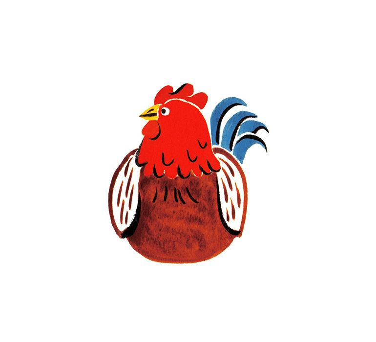 和風に水彩で描いた鶏