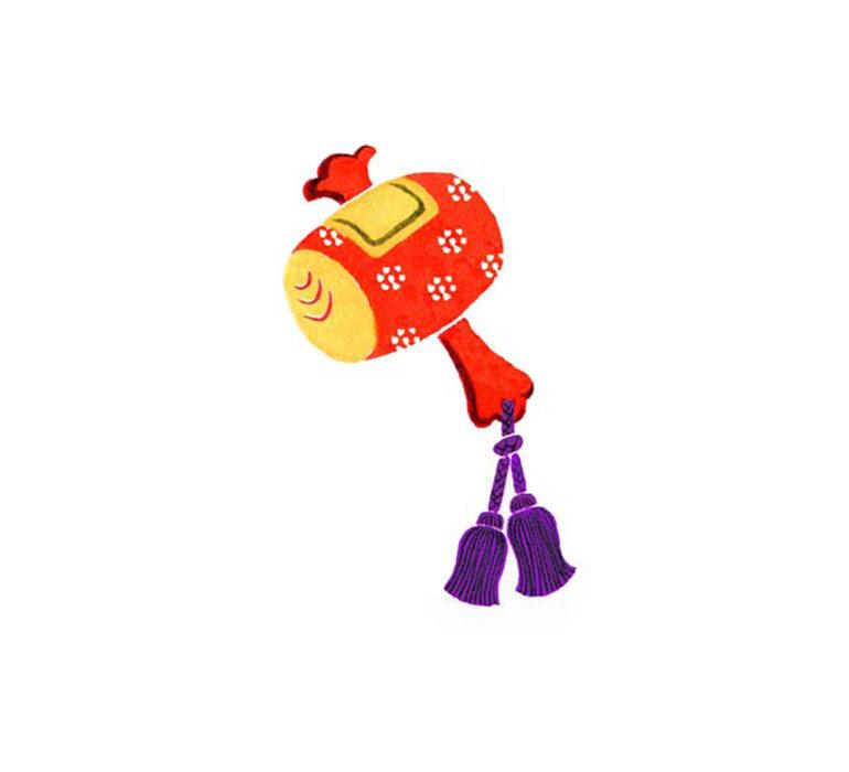 ゆのたにお餅パッケージの和風に水彩で描いた打ち出の小槌