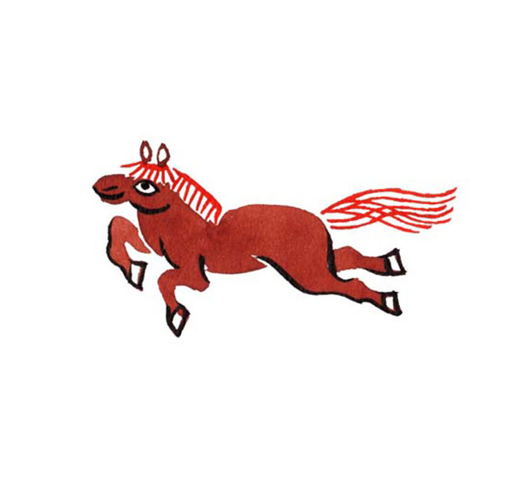 ゆのたにお餅パッケージの和風に水彩で描いた馬