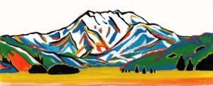 山のカラフルな絵画風イラスト