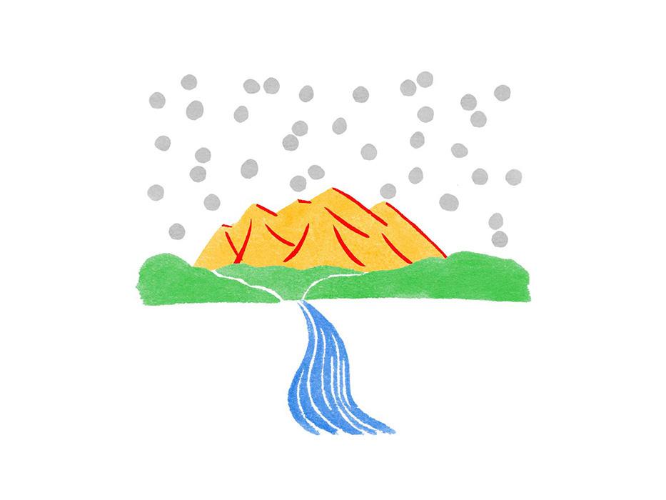 ゆのたにお餅パッケージに山と川と雪を和風のイメージに水彩で描いた