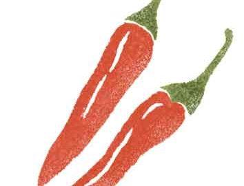 野菜の唐辛子を描いた判子風イラスト