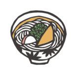 日本料理のうどんの切り絵イラスト