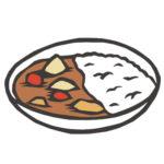 日本料理のカレーの切り絵イラスト