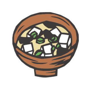 日本料理のみそ汁の切り絵イラスト