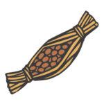日本料理の納豆の切り絵イラスト