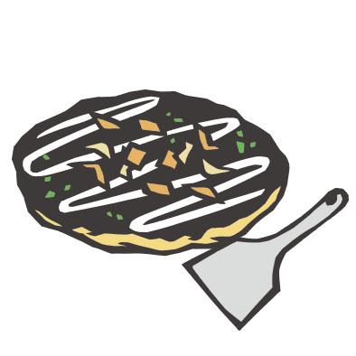 日本料理のお好み焼きの切り絵イラスト