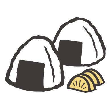 日本料理のおにぎりとタクアンの切り絵イラスト