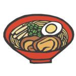 日本料理のラーメンの切り絵イラスト