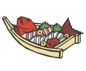 日本料理の刺身盛りの切り絵イラスト