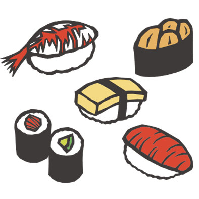 日本料理の寿司の切り絵イラスト