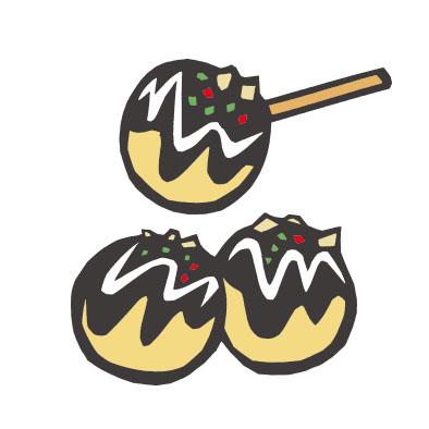 日本料理のたこ焼きの切り絵イラスト