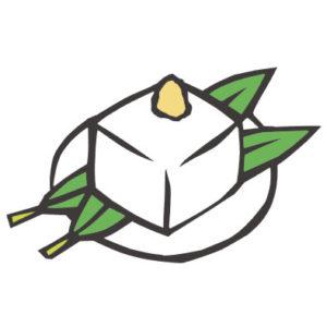 日本料理の豆腐の切り絵イラスト