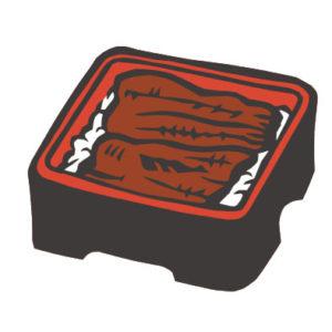 日本料理のうな重の切り絵イラスト