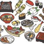 寿司とラーメンとそばにうどん等の日本料理と日本食の切り絵イラスト