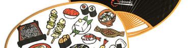 日本食や日本料理の切り絵イラスト