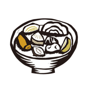 粕汁の切り絵イラスト